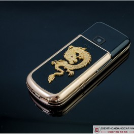 Nokia 8800 Vàng hồng da đen đính rồng phím đá 4