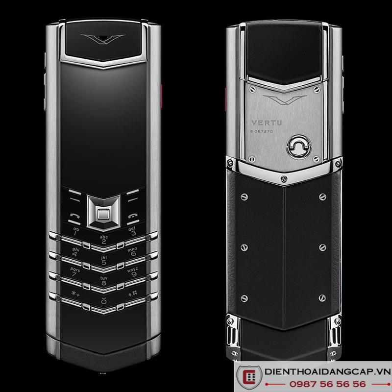 Vertu Mới Signature STAINLESS STEEL BLACK LEATHER 2017