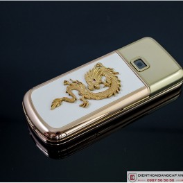 Nokia 8800 Vàng hồng da trắng đính rồng phím đá 2