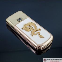 Nokia 8800 Vàng hồng da trắng đính rồng phím đá 1