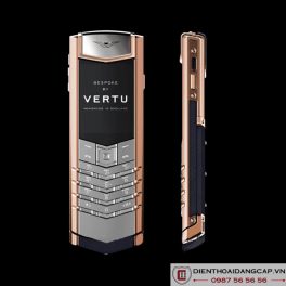 Vertu Mới Signature RED GOLD HANDSET NAVY CALF 2016 01