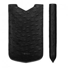 Bao da đà điểu màu đen dành cho điện thoại Vertu Constellation