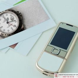 Nokia 8800 Vàng hồng da trắng đính rồng phím đá 4