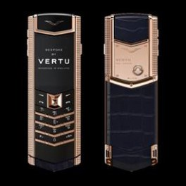 Vertu mới Signature RED GOLD CLOUS DE PARIS SIDE CHEEKS NAVY BLUE ALLIGATOR 2016