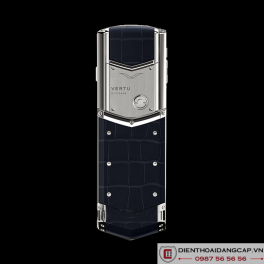 Vertu Signature S SILVER NAVY ALLIGATOR BLUE SAPPHIRE SELECT KEY 04