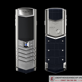 Vertu Mới Signature S STAINLESS STEEL HANDSET SAPPHIRE KEY NAVY BLUE LEATHER 2016 01