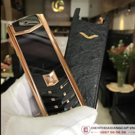 Vertu cũ Signature S Vertu Design Rose Gold Black DLC Sapphire Key 01