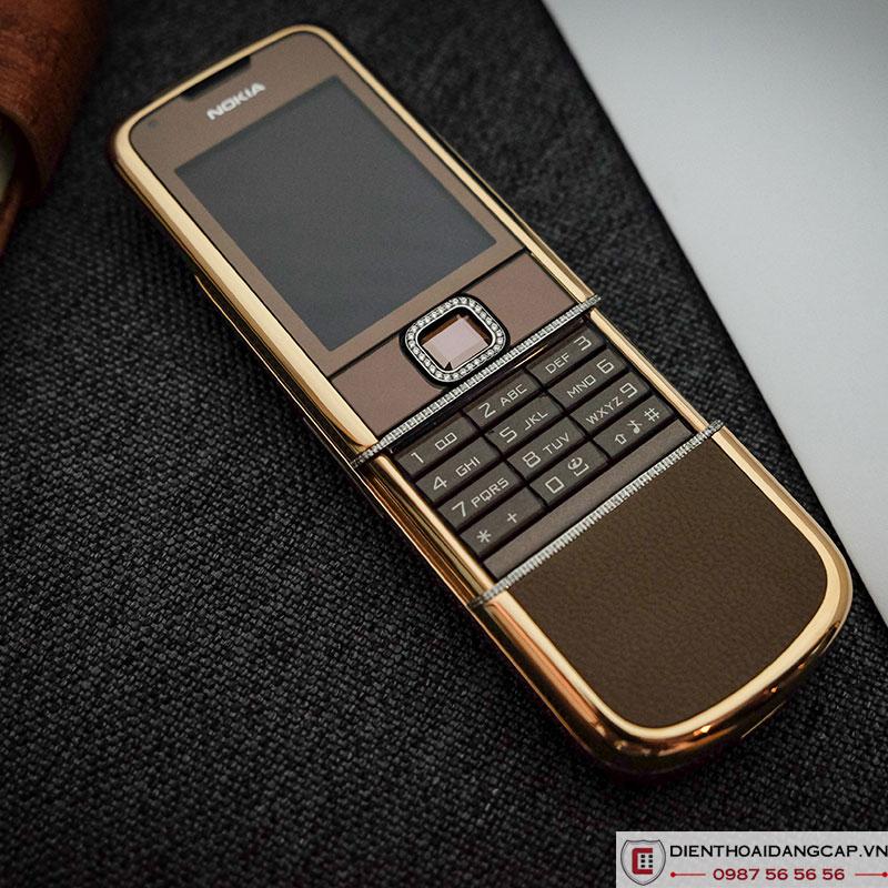 Nokia 8800 vàng hồng da nâu full đá