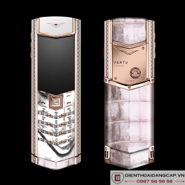 Vertu cũ Signature S ROSE GOLD PAVE DIAMONDS ALBINO ALLIGATOR 01